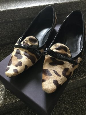 Prada Loafer Slipper Mokassins Ballerinas Fell Für Leo Spitz Schleife