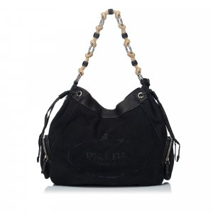 Prada Logo Canvas Canapa Hobo