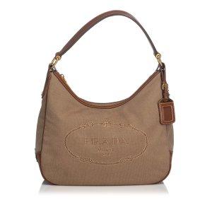 Prada Logo Jacquard Hobo Bag