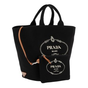 Prada Logo Tote Hemp Lining Black wie neu mit Rechnung
