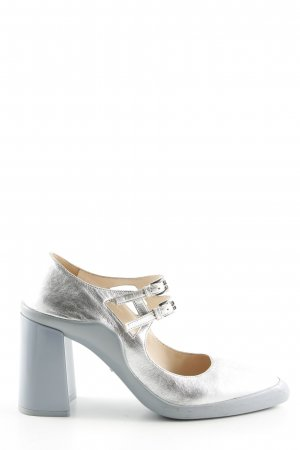 Prada Mary Jane Pumps silver-colored-light grey wet-look