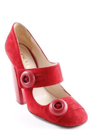 Prada Escarpins Mary Jane rouge style décontracté