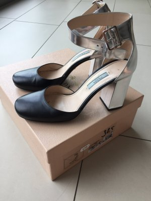 Prada Escarpins Mary Jane noir-argenté