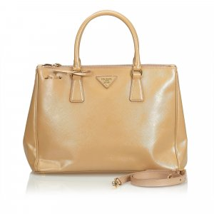 Prada Medium Saffiano Lux Double Zip Galleria Satchel