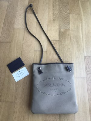 Prada Milano Jaquard Leder Bag Umhängetasche Logo Blogger Tasche