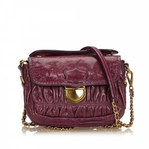 Prada Mini Gathered Leather Chain Crossbody Bag