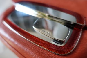 Prada Handbag dark orange-silver-colored
