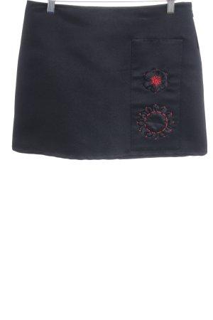 Prada Minirock schwarz-neonrot Blumenmuster Elegant