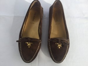 Prada Moccasins dark brown suede