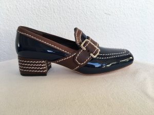 Prada Mocasines azul oscuro-coñac Cuero