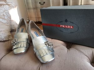 Prada - Mokassins Slipper silbern