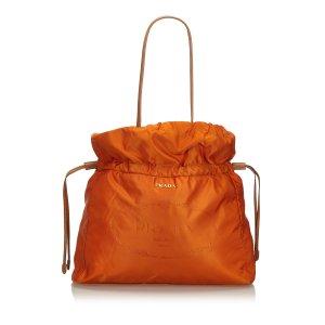 Prada Nylon Drawstring Shopper Tote Bag