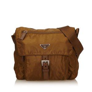 Prada Sac porté épaule brun nylon