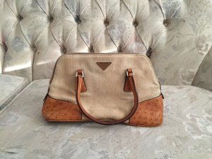 PRADA Ostrich Skin Leather Canvas Beige Small Hand Tasche Sehr Süß
