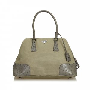 Prada Ostrich Trimmed Dome Handbag