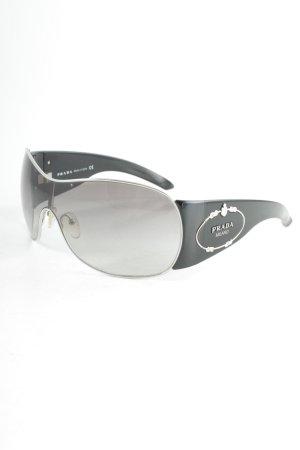Prada ovale Sonnenbrille schwarz-silberfarben Elegant