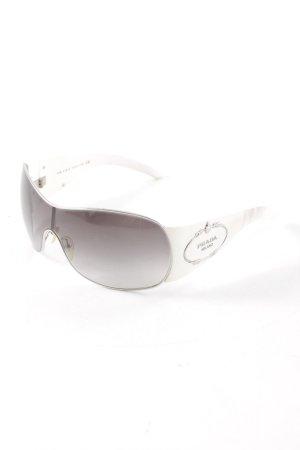 Prada Occhiale da sole ovale bianco-argento elegante