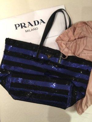 Prada Pailletten Shopper schwarz blau Handtasche Leder