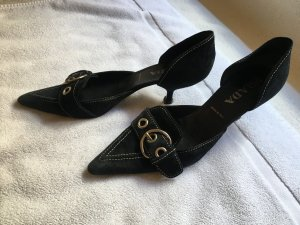 Prada Heel Pantolettes black suede