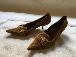 Prada Heel Pantolettes camel-cognac-coloured