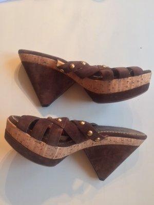 Prada Heel Pantolettes brown suede