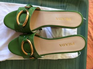 Prada Heel Pantolettes gold-colored-green leather