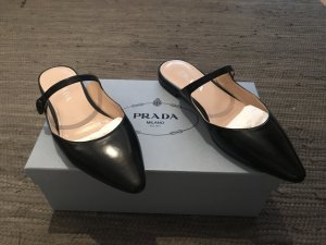 Prada Heel Pantolettes black leather