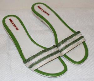 Prada Heel Pantolettes white-green leather