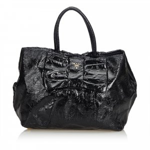 Prada Patent Leather Bow Tote Bag