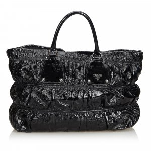 Prada Patent Leather Gathered Tote Bag