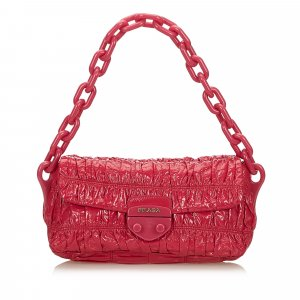 Prada Patent Leather Vernice Gaufre Chain Shoulder Bag