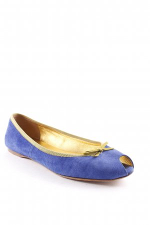 Prada Peep Toe Ballerinas blue-lime-green casual look