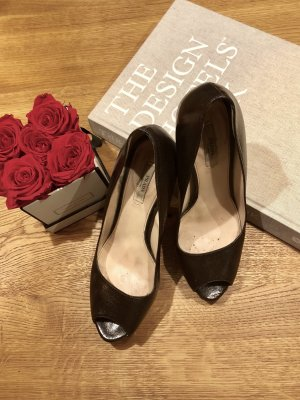 Prada Peep Toe Pumps donkerbruin