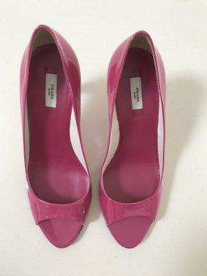 Prada Peeptoes Lack Pumps 37,5