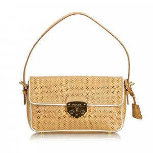 Prada Perforated Leather Baguette