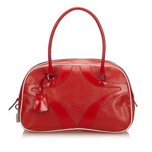 Prada Sac porté épaule rouge cuir