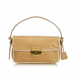 Prada Perforated Saffiano Baguette