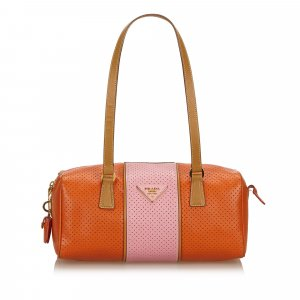 Prada Perforated Saffiano Fori Striped Bauletto