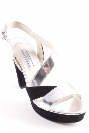 Prada Platform Sandals silver-colored-black color blocking party style
