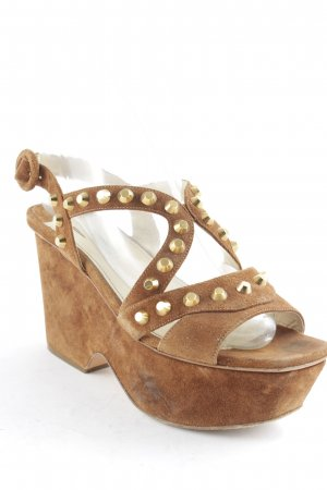 Prada Platform High-Heeled Sandal brown-gold-colored casual look