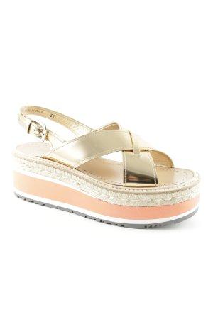 "Prada Sandalo alto con plateau ""Plateau Patent Sandal Jute Gold 37"""