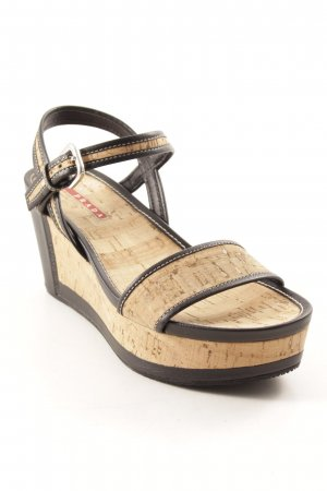 Prada Platform High-Heeled Sandal black-beige casual look