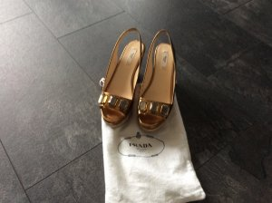 Prada High-Heeled Sandals bronze-colored leather