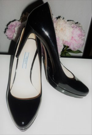Prada Pumps Gr. 37,5 High Heels schwarz Lackleder