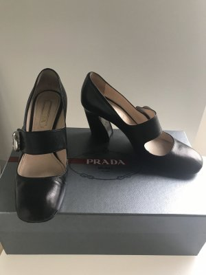 PRADA Pumps High Heels schwarz Leder 37,5 Mary Janes