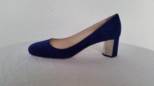 Prada Zapatos de tacón con barra en T azul Gamuza