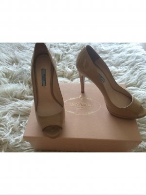 Prada Peep Toe Pumps nude