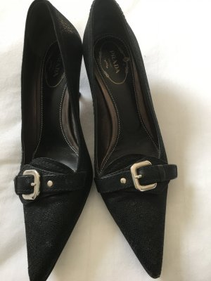 PRADA Pumps Schwarz mit geprägtem Leder, Größe 36