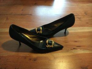 Prada Pumps - schwarz mit goldener Schnalle - Leder - sehr guter Zustand - Größe 39,5