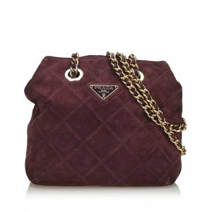 Prada Quilted Suede Chain Shoulder Bag